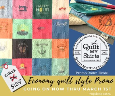 EXTENDED - expires April 15th, 2020!!! Sale going on now for a 16 block Economy Quilt. Enter Promo-code ECO16 at checkout! *options extra