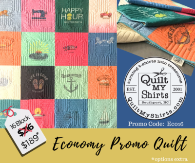 EXTENDED - expires June 15th, 2020!!! Sale going on now for a 16 block Economy Quilt. Enter Promo-code ECO16 at checkout! *options extra